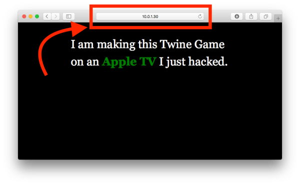 ATV game built in Twine and hosted on the Apple TV