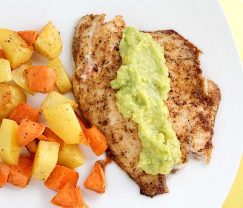 Blackened Tilapia {Avocado Sauce} & Roasted Sweet Potatoes