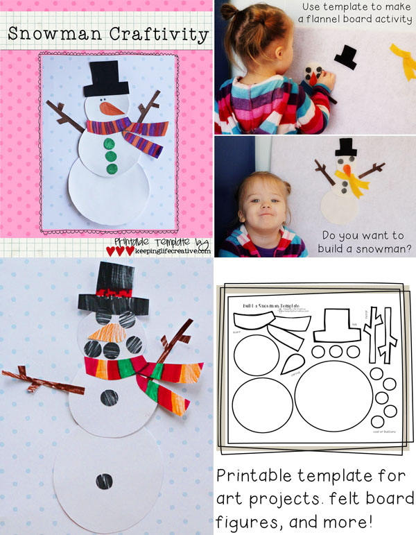 Build a Snowman printable craft template