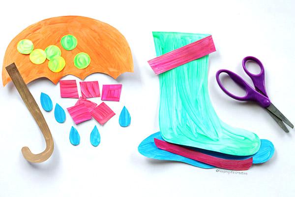 rainy day umbrella and rain boot craft keeping life creative