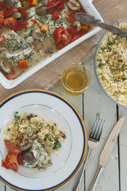 chermoula fish with nutty cous cous