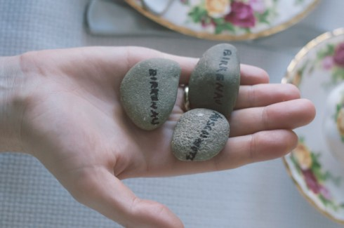 these stones were collected from concentration camps when Susy & John went to rediscover Susy's history.