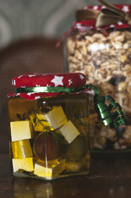 marinated fetta and homemade muesli edible gifts