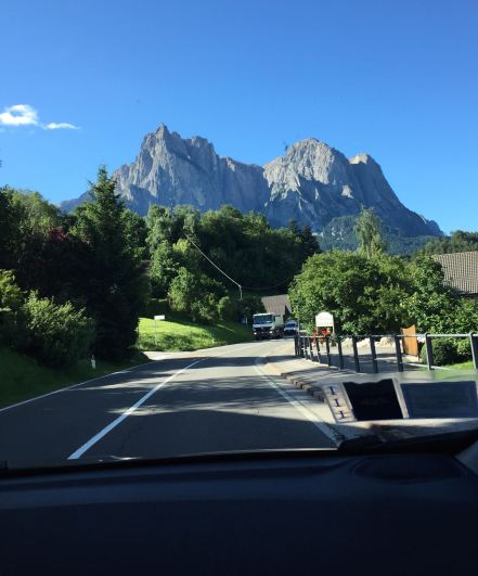 view from the car , leaving Castelrotto