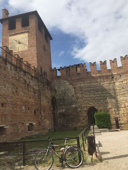 I love this image for Verona--the Castel Vechio and a bicycle.