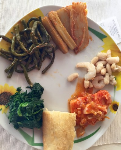 From 12:00:   Cardoons, white beans with shrimp, cod with sauce, focaccia, spinach, string beans with sugo.