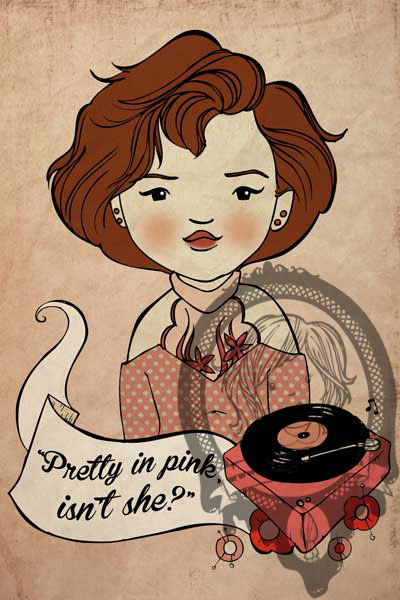 "Kelley Frisby Illustration John Hughes project Molly Ringwald ""Pretty in Pink"""