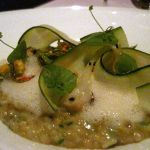 Green farro, squash blossom, spring garlic, seeds, bergamot