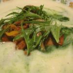 Celery Root Soup, wild mushrooms, mizuna, calamondini, nettles