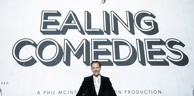 "Richard E. Grant standing in front of a ""Richard E. Grant on Ealing Comedies"" graphic"