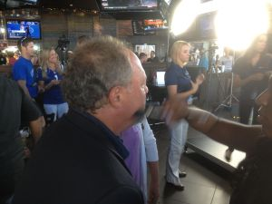 Bob Kravitz has his makeup done prior to the Pat McAfee Show last night. Too many relevant punch lines to choose just one.