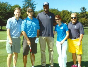 Our group poses with first round pick Solomon Hill (from left - me, Dr. Steve Samuels, Fox 59's Brittany Diehl, and Eddie White.