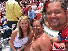 "This picture of a fan and his girlfriend at Busch Stadium was used in a St. Louis webstie to describe what a ""Hoosier"" is."