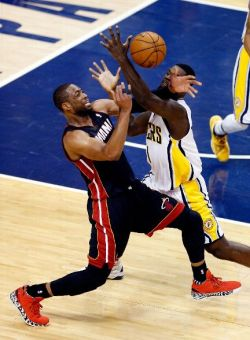 Lance Stephenson strips Dwyane Wade as the Pacers turn up the defensive pressure in its 93-90 win.