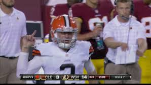 Johnny Football becomes Johnny Finger during last night's Monday Night game in Washington.