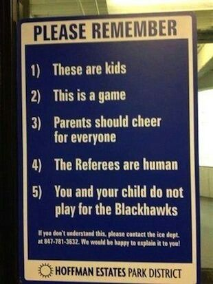Signs like this are ignored by idiot sports parents all over America.