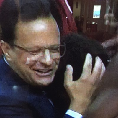 Tom Crean hugs and pats Yogi Ferrell in a way I would not want my son hugged and patted.