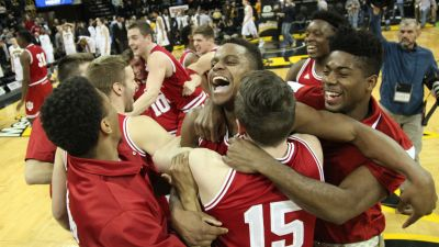 Hoosiers celebrate their Big Ten Championship after holding on for a win at Iowa.