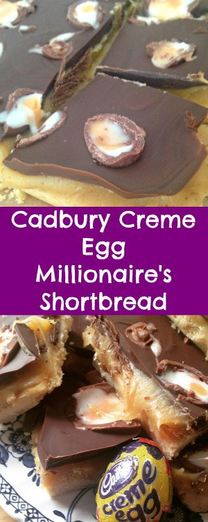 Homemade Cadbury Creme Egg Millionaire's Shortbread, chocolate, caramel and a shortbread base! So good!