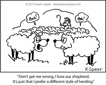 Cartoon of a flock of sheep