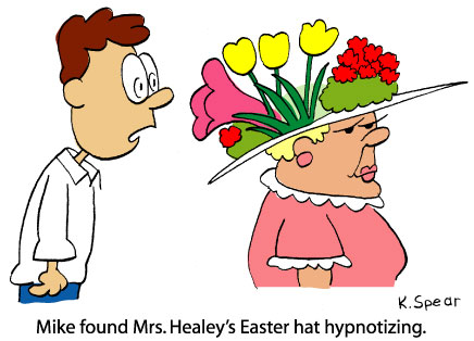 Cartoon of a guy staring at a huge Easter hat.