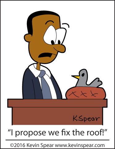 """cartoon of a pastor in a pulpit, looking at a bird in a nest. The pastor says, """"I propose we fix the roof!"""""""