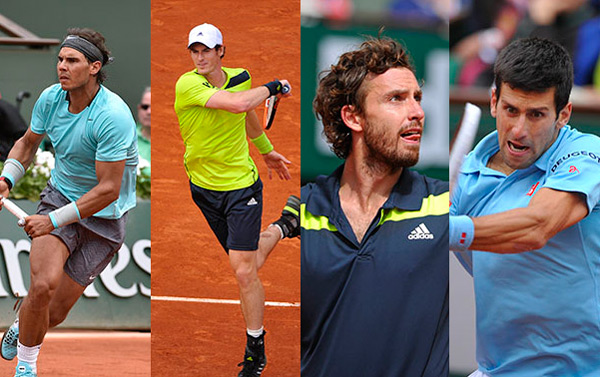Nadal, Murray, Gulbis, and Djokovic.