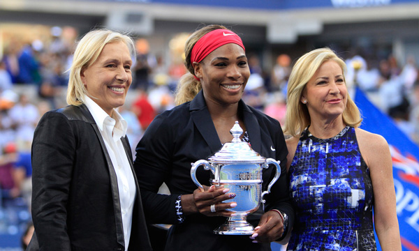Martina Navratilova, Serena Williams, and Chris Evert (usopen.org/Philip Hall)