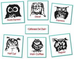 Caffeinated Owl Chart Embroidery Designs Set