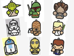 Star Wars FSL Ornament or Suncatcher Embroidery Designs Set