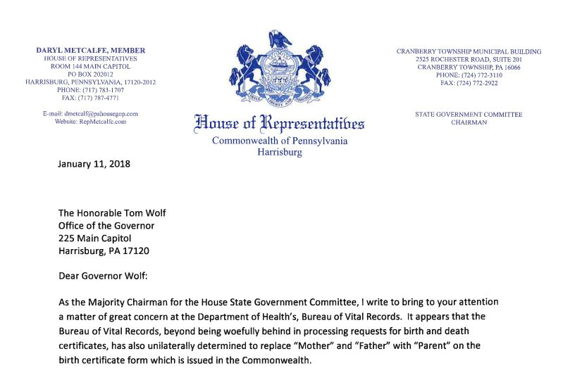 State representatives condemn parent designations on birth other state representatives sent a letter to governor wolf urging him to rescind the policy update that provides for pennsylvania birth certificates to yelopaper Image collections