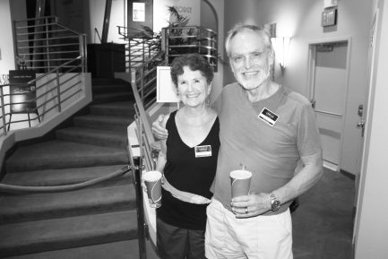 Alicia Merel and Bob guard the entrance of the screening and were actors in 'Dance Tough.' But, Alicia hastened to add, 'We're not dancers.'