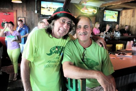 An unsung hero, Tom Favelli is one of Key West's most active animal lovers and volunteers, seen here with Save-A-Turtle's Nesting Beach Survey Coordinator, Ralph Capone.