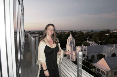 Rebecca Doran, Spa Director for Top Spa at La Concha and Pier House Resort and Spa, overlooks Key West from the eastward balcony of the spa.