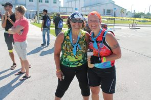 Shari Jenkins and her friend came from San Fransico for the big ride.