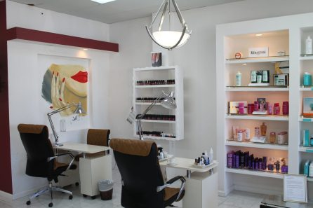 The salon's services include pedicures and manicures, oxygen treatments and even caviar hair therapy.