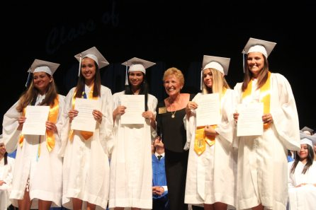 Carol Reed awarded five graduating girls with a scholarship provided by the Marathon Elks Lodge. The recipients are Samantha Bonilla, left, Zamaira Ricart, Jinett Rodriguez, Brandi Spalten and Savannah Rodamer.