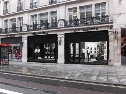 The exterior of the KARL LAGERFELD store in Regent Street, London, UK.
