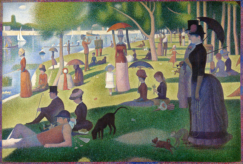 Seurat's famous pointillism work 'A Sunday Afternoon on the Island of La Grande Jatte,' captures a scene from a Parisian park in the 1880s.