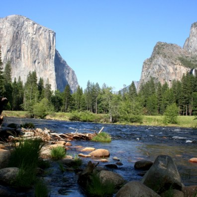 A view from the floor of Yosemite, the park that spurred the formation of the National Park system.