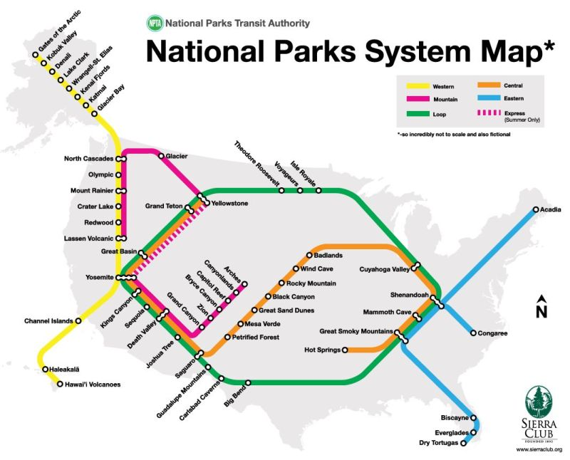 The National Park system as transit map. (Sierra Club)