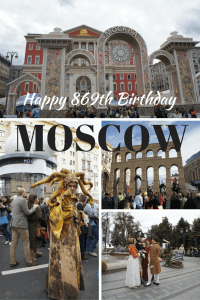 Celebrating Moscow's birthday with a city day street party.