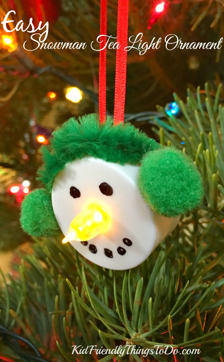 Easy Snowman Tea Light Ornament Craft
