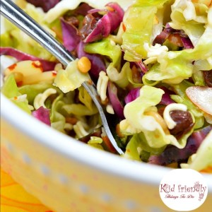 Easy Crunchy Asian Ramen Noodle and Cabbage Salad Recipe - So simple to make and the absolute best salad for potlucks! KidFriendlyThingsToDo.com