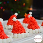 Santa Hat Rice Krispies Treats for a Fun and Simple Christmas Treat - Perfect for holiday parties with kids! www.kidfriendlythingstodo.com