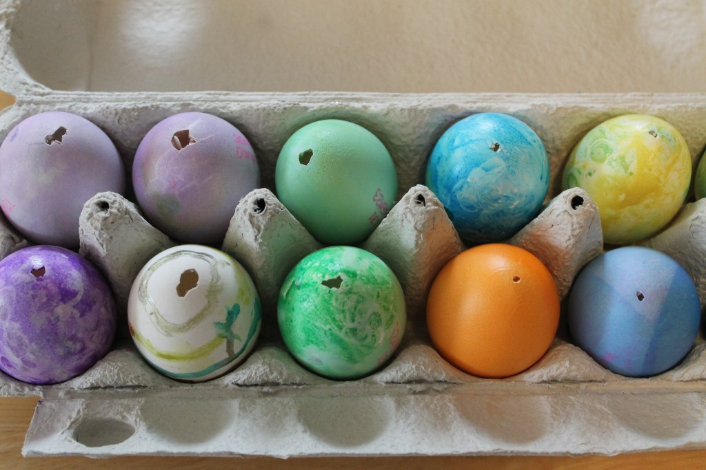 Blown out dyed and painted eggs