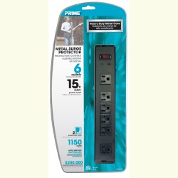 Prime PB802135 6-Outlet Metal Surge Protector