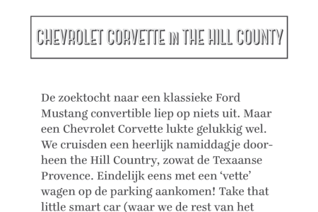 Zoeven met een Chevrolet Corvette door the Hill Country ten zuidwesten van Austin