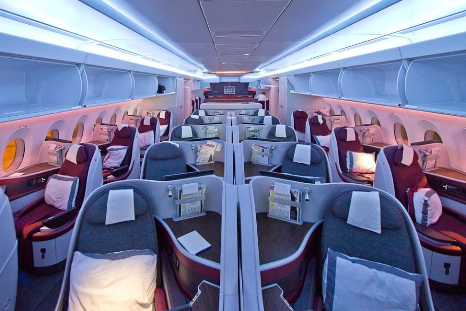Qatar airways business class airbus a350 m nchen doha for Interieur qatar airways