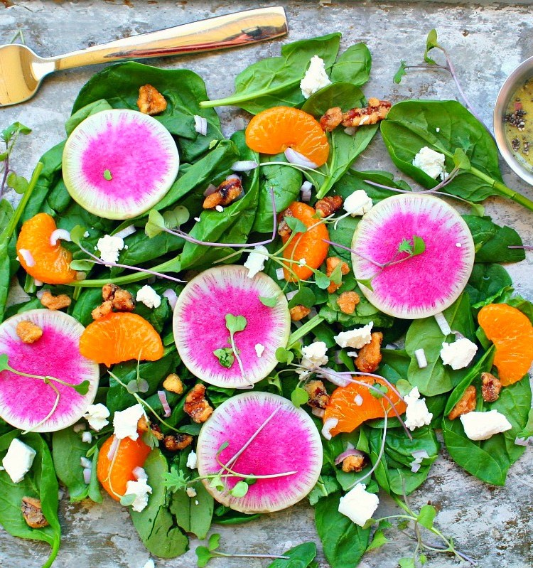 Watermelon Radish Salad with Mandarins and Candied Walnuts Header